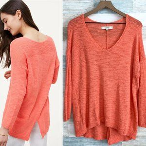 LOFT Slouchy Back Slit Sweater Coral Pink